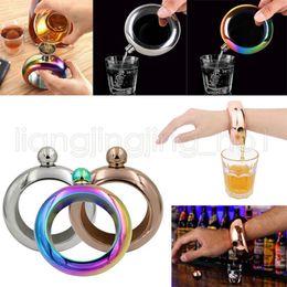 Wholesale stainless steel whiskey - Bangle Bracelet Hip Flask 3.5oz 304 Stainless Steel Rainbow Liquid Alcohol Vodka Whiskey Drinkware Funnel Hip Flasks Outdoor Gadgets GGA536