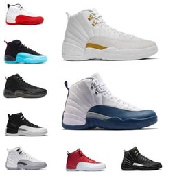 Wholesale White Suede Shoes For Men - Free shipping 2017 air retro 12 Premium Deep Royal Blue Suede men Basketball Shoes sports Sneakers us size 7-13 online for sale AAA+ quality