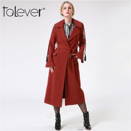 Wholesale Trench Coats Windbreakers - 2017 Casual Autumn Winter Woman Trench Coats Female Stylish Long Overcoat With Sashes Fall Red Windbreakers for women Talever
