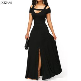 Wholesale Maxi Dress Front Sexy - ZKESS Women New Cold Shoulder Front Slit Flare Maxi Dress Sexy V Neck Empire Waistline Party Long Dresses LC61752