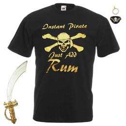 2019 camicia pirata nera Mens Black Instant Pirate Just Aggiungi Rum T-Shirt Fancy Dress + Accessori pirata sconti camicia pirata nera