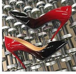 Spitzen zehen flachen mund schuhe online-heiße Mode Spitz High Heels Designer zwei Farben rote untere Schuhe Sexy flachen Mund Sohle hochhackigen Frauen Hochzeit Kleid Schuhe