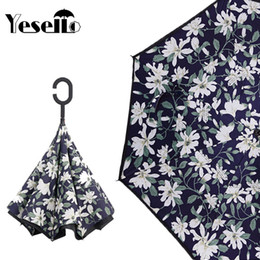 lily fabrics Promo Codes - Yesello Lily Double Layer UV Proof and Windproof Inverted Rolling Over Umbrella With C-Shaped Handle for Car Outdoor