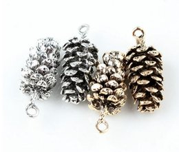 Wholesale pine cone charms - 1 PC vintage fashion jewelry antique silver and gold Pine cones charms for DIY accessories plant pine cones pendant charm