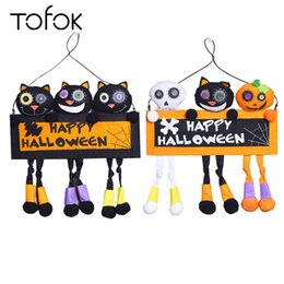 Tofok Happy Halloween Hanging Decoration Hanging Plate Pumpkin Black Cat White Ghost Scary Decoration Plate Sign Board supplier happy cat decoration от Поставщики счастливое украшение кошки