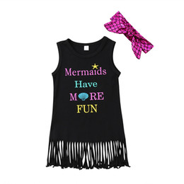 Wholesale Chinese Kids Wear - Summer Kids Baby Girls Sleeveless Princess Dress With Headband Letter Print Starfish Outfit Tassels Party Sundress Clothes Beach Wear 1-6Y