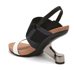 Canada 2017 été nouvelles chaussures pour femmes en cuir talon compensé talon haut grande classe chaise talon chaussures de mode sandales art architectural beauté blanc cheap class arts Offre