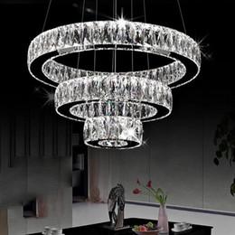 Lange rostfreie kronleuchter online-AC100-240V Moderne LED Kronleuchter lange Kristalle Diamantring LED Lampe Edelstahl Hängende Leuchten Cristal LED Lustre Kronleuchter
