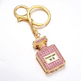Cobre chaveiros on-line-Frasco de Perfume Chaveiro Moda Diamante Chaveiros Saco Das Mulheres Acessórios de Alta Qualidade Sem Ferrugem Metal Chaveiro 3 Cores