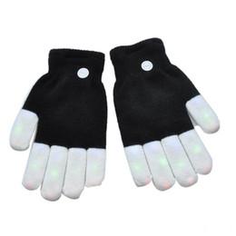 Wholesale White Rave Gloves - New LED Rave Gloves Mitts Flash Finger Lighting Glove LED Colorful 7 Colors Light Show Black and White Toy