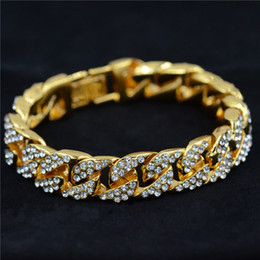 Relleno de oro online-Uodesign 14mm Pulsera para hombre para mujer Joyería Hiphop Helado Curb cadena cubana de oro amarillo lleno de diamantes de imitación pavimentados