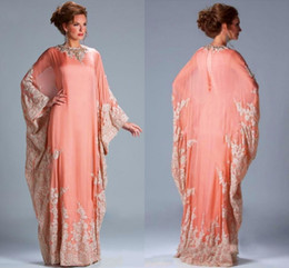 coral mother bride dresses Coupons - 2019 Fashion Evening Gowns Chiffon Kaftan Dubai Arabian Dress Lace Long Sleeves Fitted Muslim Mother Of The Bride Dresses Plus Size HY4133