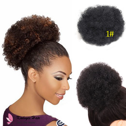 Wholesale Hair Extension Chignon - Natural Ponytail 3pcs African American Afro Short Kinky Curly Wrap Drawstring Ponytail Synthetic Hair Extensions with Clips (Big Size)