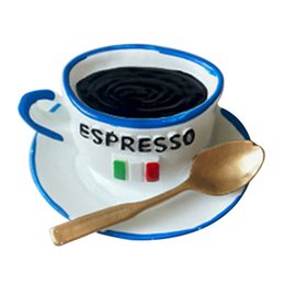 Wholesale sticker cup coffee - NEW Cute Refrigerator Magnetic Stickers Kitchen Home Decor, Blue+white Coffee cup