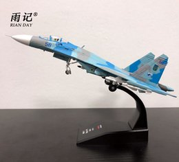 Wholesale metal model fighter plane - AMER 1 100 Scale Russia Sukhoi Su-27 Flanker Fighter Diecast Metal Plane Model Toy For Gift Collection Decoration