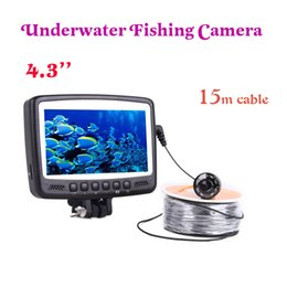 Wholesale Underwater Fishing Videos - 4.3'' Monitor Underwater Fishing Video camera system for fishing video camera 15M Cable fish finder kit fish finder 8 light