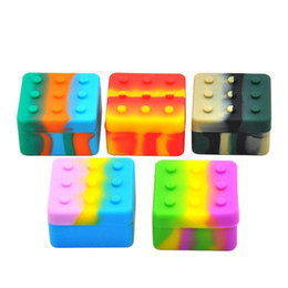 Wholesale wax blocks - Silicone Dab Container Case Carriers Square Box Non-stick 4+1 Block Box For Wax Oil Dry Herb Silicon Jar With 5 Slots