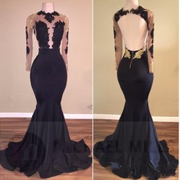 Espalda abierta vestidos de noche de cuello alto online-New African Gold Black Lace Sirena Vestidos de noche Largos 2018 Cuello alto Satin Sexy See Through Open Back Manga larga Vestidos de baile BA5034