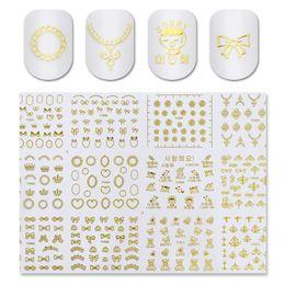 2019 chiodi della farfalla 3d 1 Foglio 12pcs Oro 3D Nail Sticker Cuore Corona Bowknot Farfalla Motivi floreali Nail Art Decoration Stickers sconti chiodi della farfalla 3d