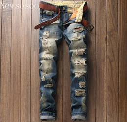 Wholesale luxury men slim straight trousers - 2017 European American Style Fashion Brand Mens Jeans Luxury Men Straight Denim Trousers Hole Zipper Slim Blue Jeans For Men