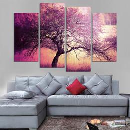 muro di arte viola Sconti Quadri Quadro Modulare Dipinto Wall Art Decor Canvas 4 Panel Purple Tree Landscape For Living Room Bedroom Stampe Cuadros
