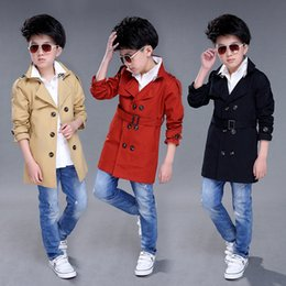 Wholesale red trench jacket - boys trench coats causal solid clothes for 4-12 years children kids jacket clothes