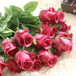 2019 fiori freschi di rosa Touch Latex PU Rose Fresh Rose Fiori artificiali Real Touch rosa Fiori, decorazioni per la casa per la festa di nozze o San Valentino 0210