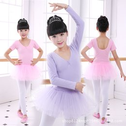 Wholesale Kids Ballerina Costume - 2 colors Princess Ballerina Fairy Party Costume Child Girls Gymnastic Ballet Leotard Tutu Dance Dress Kids Dancewear Clothing