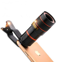 Wholesale Mobile Phone Telescope Camera - The phone telescope lens 8x amplifies the unni panoramic optical camera lens len and clip for Iphone mi huawei LG mobile smart phone
