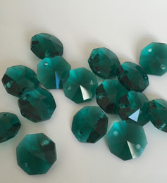 Wholesale Crystal Octagon 14mm - 300pcs lot 14mm glass octagon beads zircon green crystal chandelier parts in 2 holes free shipping crystal chandelier beads