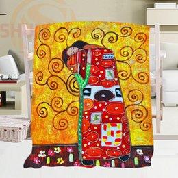 Wholesale Gustav Paintings - Custom Classical painting Gustav Klimt Blanket &4 Soft Fleece Decoration Bedroom 58x80inch,50X60inch,40X50inch T#909W!x21