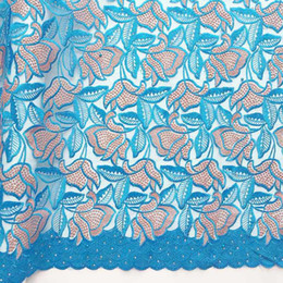 tecido bordado ouro Desconto Tela de renda líquida de malha bordada azul  turquesa tecido de renda 1bd5e8611e
