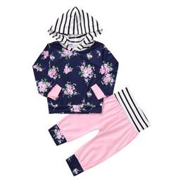 Canada Arloneet filles vêtements printemps et automne ensemble nouveau-né bébé filles manches longues à capuche floral Tops + pantalons tenues ensemble de vêtements l0807 supplier floral long tops Offre