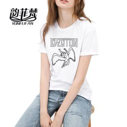 Wholesale Punk Rock Clothing Women - Brand Hot Led Zeppelin Women T-Shirts Fashion Punk Rock Short Sleeve 100% Cotton T shirts Summer female Tee Tops Casual Clothing