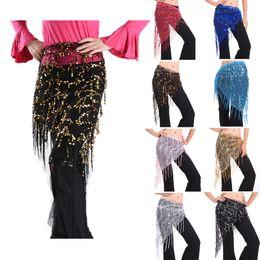 Wholesale Hip Wraps - NEW Belly Dance Hip Scarf Wrap Chain Dancing Costume Waistband Belt Skirt Coin Sequin Dancewear Triangle