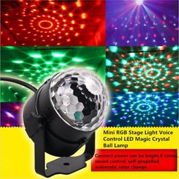 mini light bars Promo Codes - Mini RGB Stage Light Voice Control LED Magic Crystal Ball Lamp Rotation Laser Lights KTV Wedding Rooms Bar Christmas Flash Light
