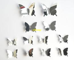 etiqueta do berçário do cão Desconto 120 jogos / lote Rápido 12 Pçs / set DIY Espelho 3D Borboleta Adesivos de Parede Decoração de Casa Para Crianças Presente Decoração de Casamento Festa de Decoração Para Casa B5301