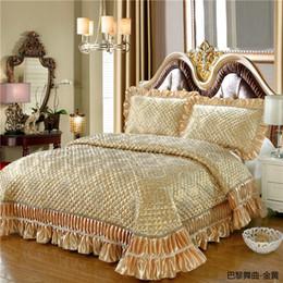 2019 literie à carreaux bleus Vin d'or rouge rose luxe européen de haute qualité en soie tissu jacquard épais couverture dentelle couvre-lit drap de lit taies d'oreiller 3pcs