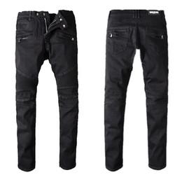 Calça jeans para homens on-line-Calças de brim dos homens de Balmain Slim Fit calças de brim rasgadas homens Hi-Street Mens corredores de sarja de Nimes afligidas furos de joelho Lavado Destruído 22 calças de brim da cor do estilo
