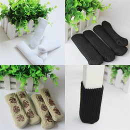 Wholesale furniture pieces - Chair Foot Cover Colourful Stripe 4 Pieces Knitted Furniture Table Legs Sleeve Non Slip Free Shipping 2 2zy V