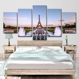 2020 pannelli a torre eiffel 5 Pannello Eiffel Tower Paris Square Fountain Modern Home Decorazione della parete Immagine della tela di arte HD Stampa Pittura su tela per soggiorno sconti pannelli a torre eiffel