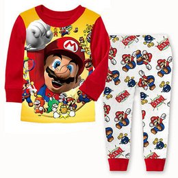 Wholesale Child Pyjamas - Super Mario Kids Boys Homewear Nightwer Cotton Sleepwear Cartoon Outfits Pyjamas Children 2Pcs set Clothes Long Sleeve 1-7T