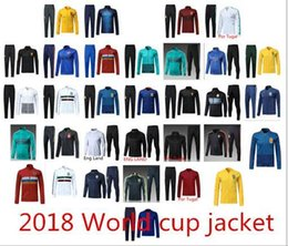 Wholesale Men Green Army Jacket - 2018 World Cup Soccer Jacket Tracksuit 18 19 Spain Argentina Mexico Belgium soccer jacket SPORTSWEAR Netherlands Russia Por Tugal jackets