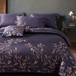 Wholesale Egyptian Cotton Bedding Sets Purple - Papa&Mima purple Branches Embroided Bedding Sets Queen King Size Bedclothes 100% Egyptian Cotton Bedlinen