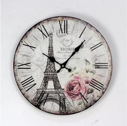 Relógio eiffel on-line-35 cm paris torre eiffel estilo britânico relógios de parede de madeira café restaurante e bar circular relógio de agulha digital home decor