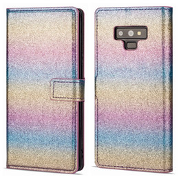 rainbow wallet case Promo Codes - Note9 Case Sparking Wallet Leather For Iphone XR XS MAX X 8 7 6 Galaxy Note 9 S9 S8 Bling Glitter Powder Sparkle Luxury Rainbow Flip Cover