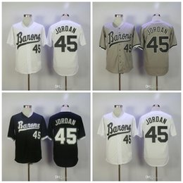 Wholesale Michael Movies - Michael #45 Birmingham Barons Movie Jerseys Retro Baseball Jersey Black White Grey Stiched