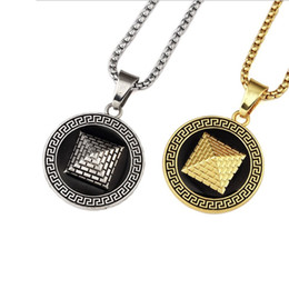 Mode Männer Halskette Goldene Pyramide Anhänger 18K Gold Überzogene Kette Hip Hop Schmuck Design Punk Rock Micro Männer Lange 75 CM Kette von Fabrikanten