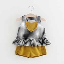 Wholesale Sleeveless T Shirts For Babies - Lovely Toddler Baby Girls Heart Pattern T-shirt and High Waist Shorts Outfits Clothes For 9M-3Y Hot Sales Kids Clothing Set