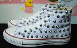 Wholesale eur 43 - Ship with box! drop ship new 2018 high model sharp studs canvas shoes clean and dirty model unisex shoes for lovers of all size 35-43 eur